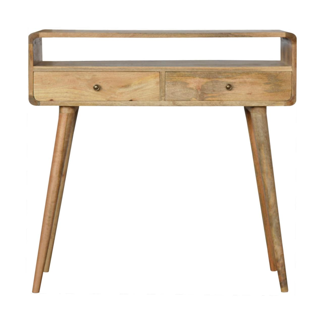 Curved Oak Ish Console Table