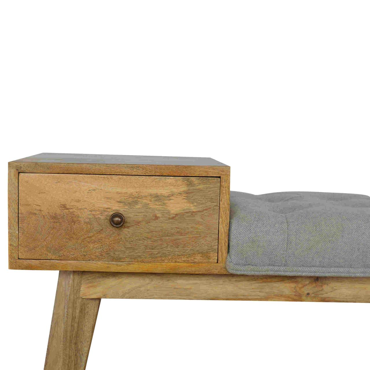Grey Tweed Bench with 1 Drawer