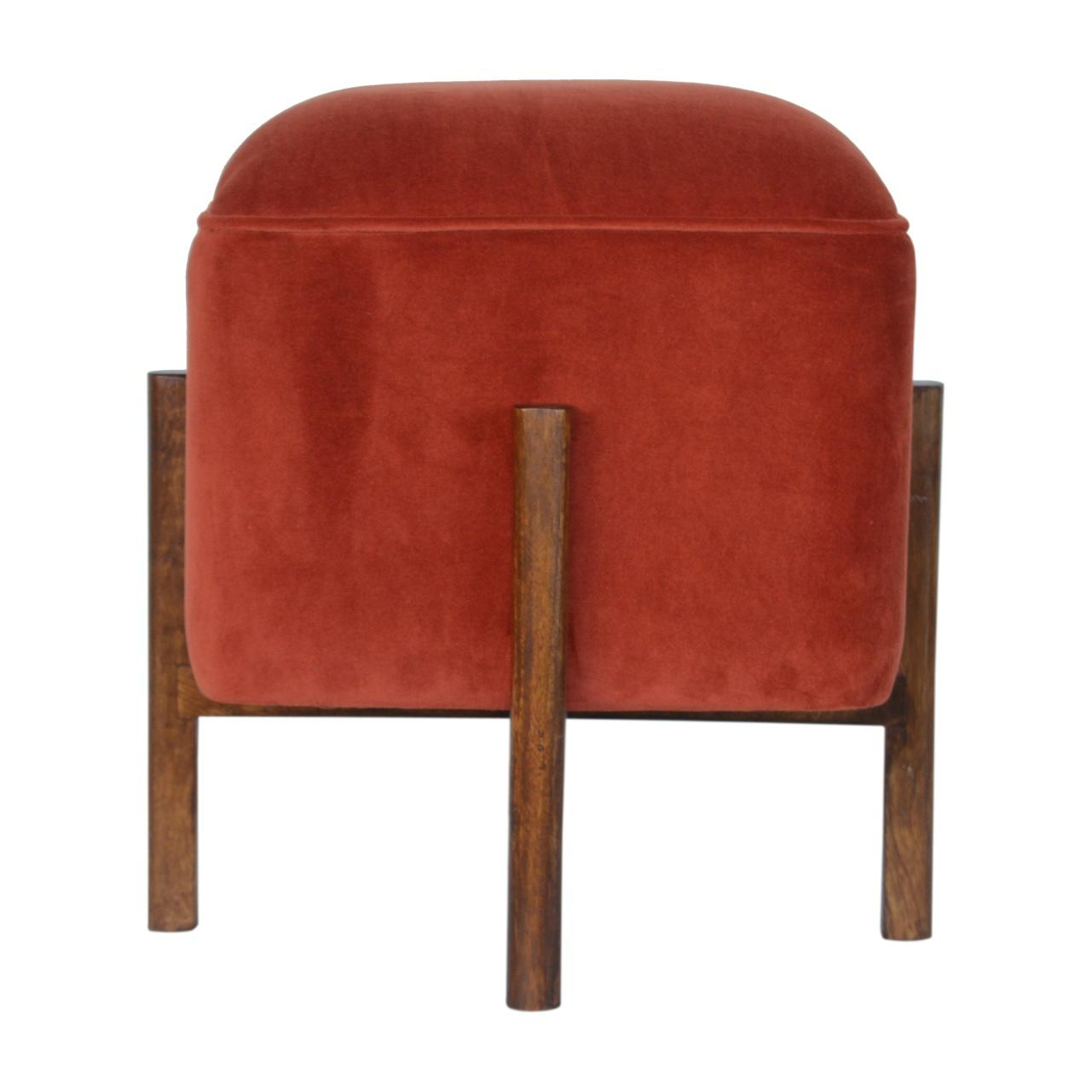 Brick Red Velvet Footstool with Solid Wood Legs