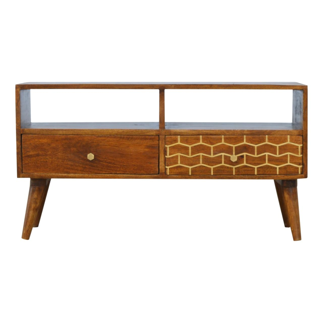 Gold Pattern Drawer Media Unit