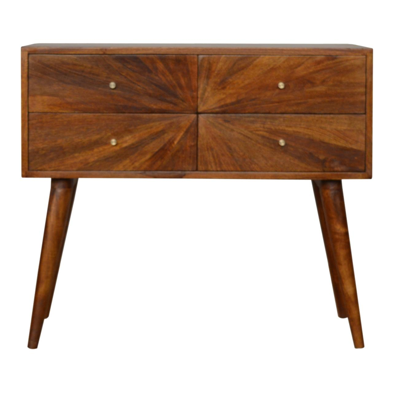 Sunrise Patterned Chesnut Console Table