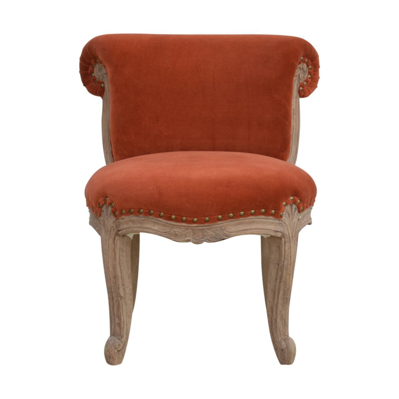 Brick Red Velvet Studded Chair