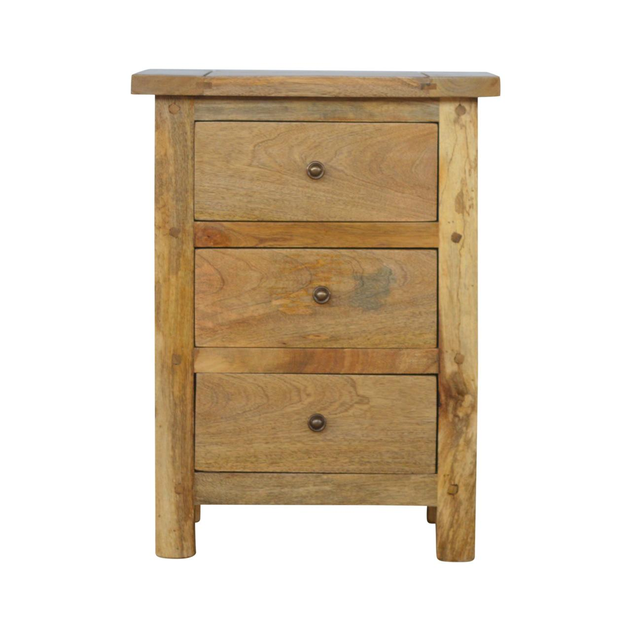 Country Style Bedside with Three Drawers