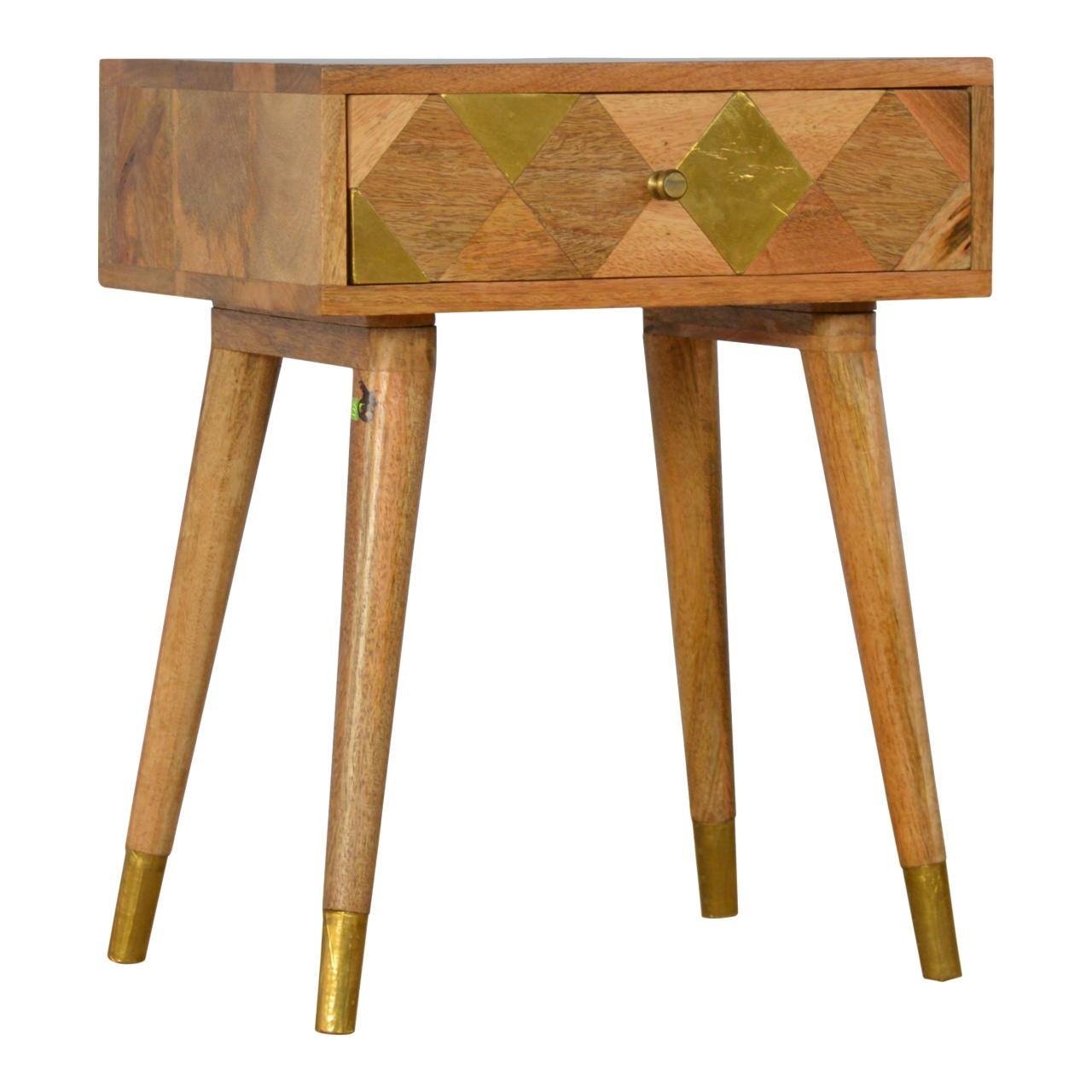 Oak Ish Gold Brass Inlay Bedside