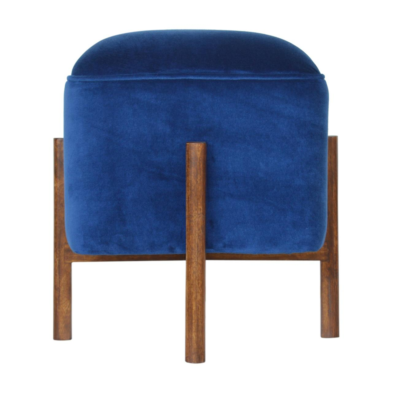 Royal Blue Velvet Footstool with Solid Wood Legs