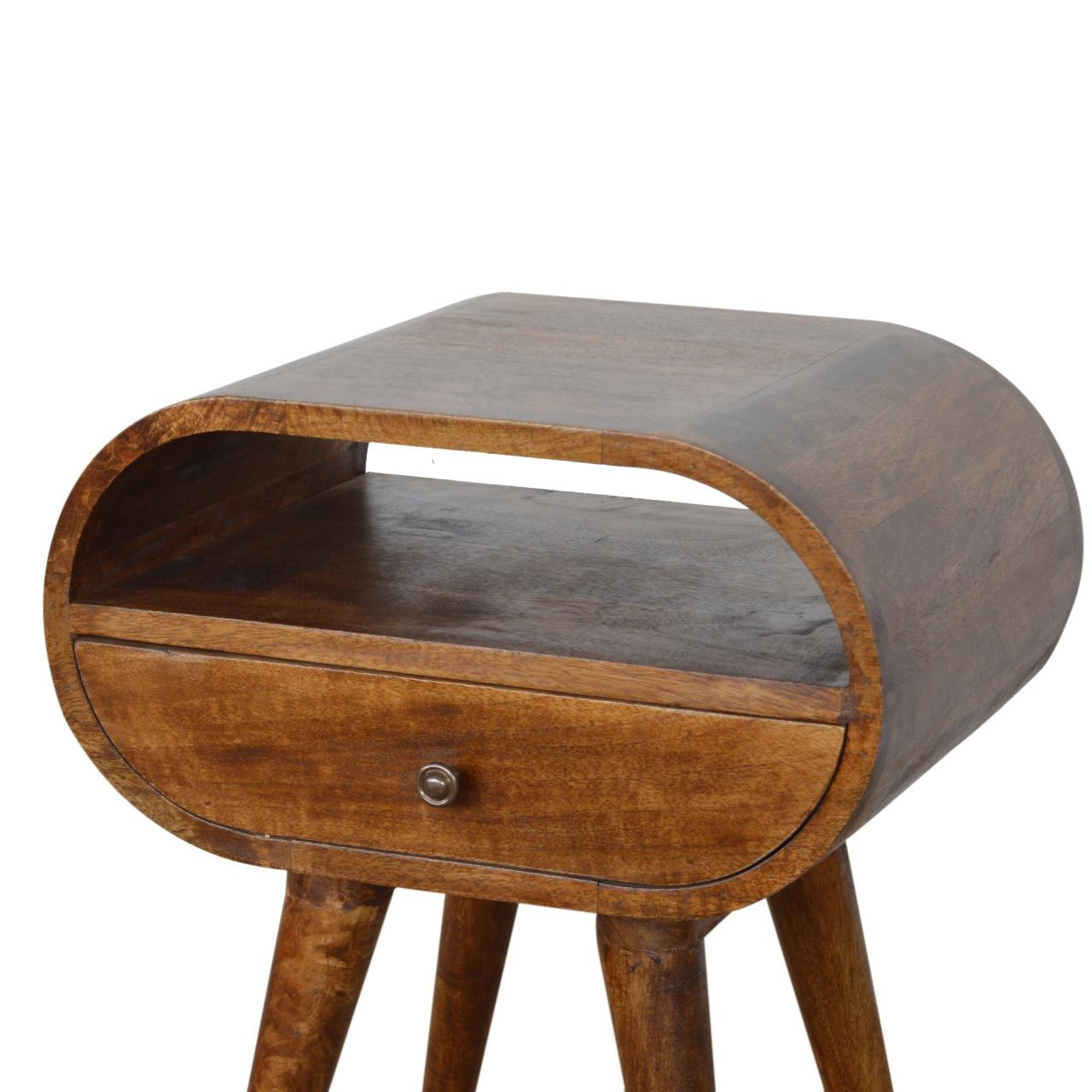 Chestnut Circular Bedside with Open Slot