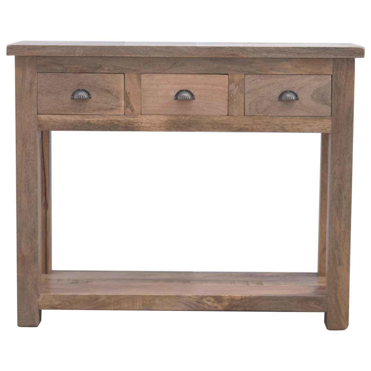 Solid Wood Hallway Console Table with Three Drawers