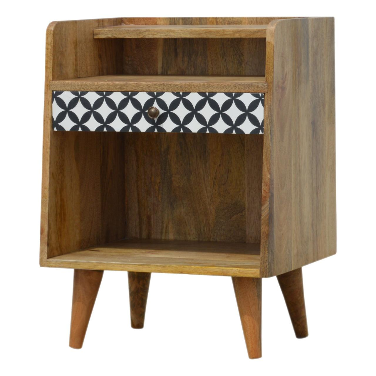 District Diamond Patterned Bedside