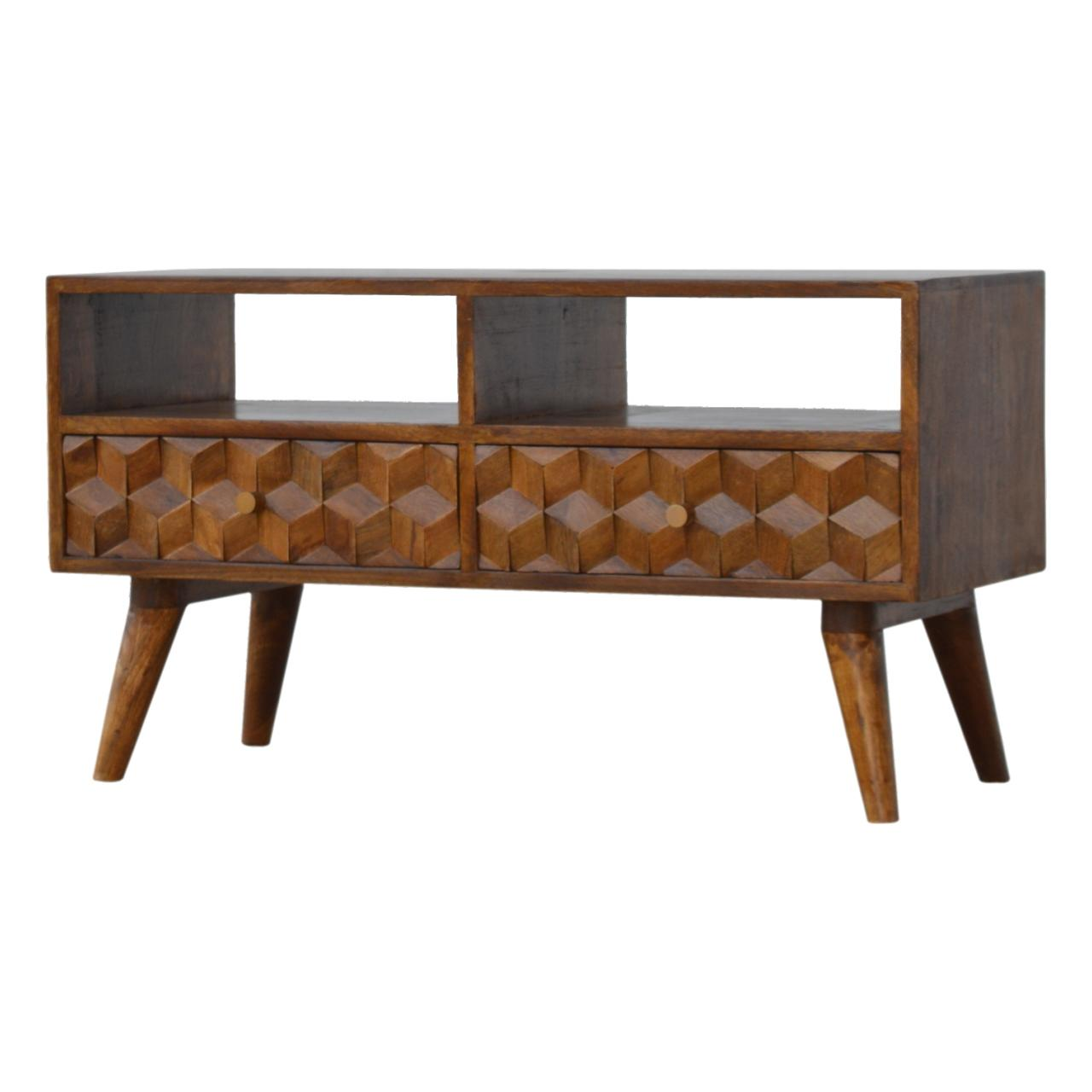 Chestnut Cube Carved Tv Unit