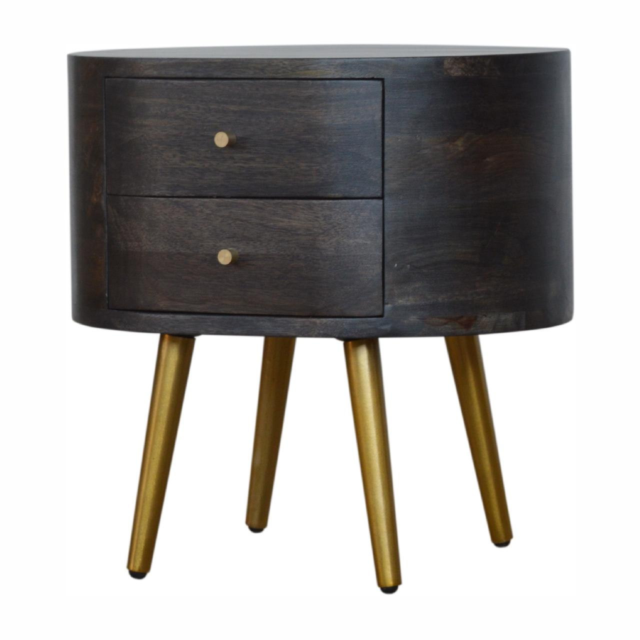 Ash Black Bedside with Brass Legs