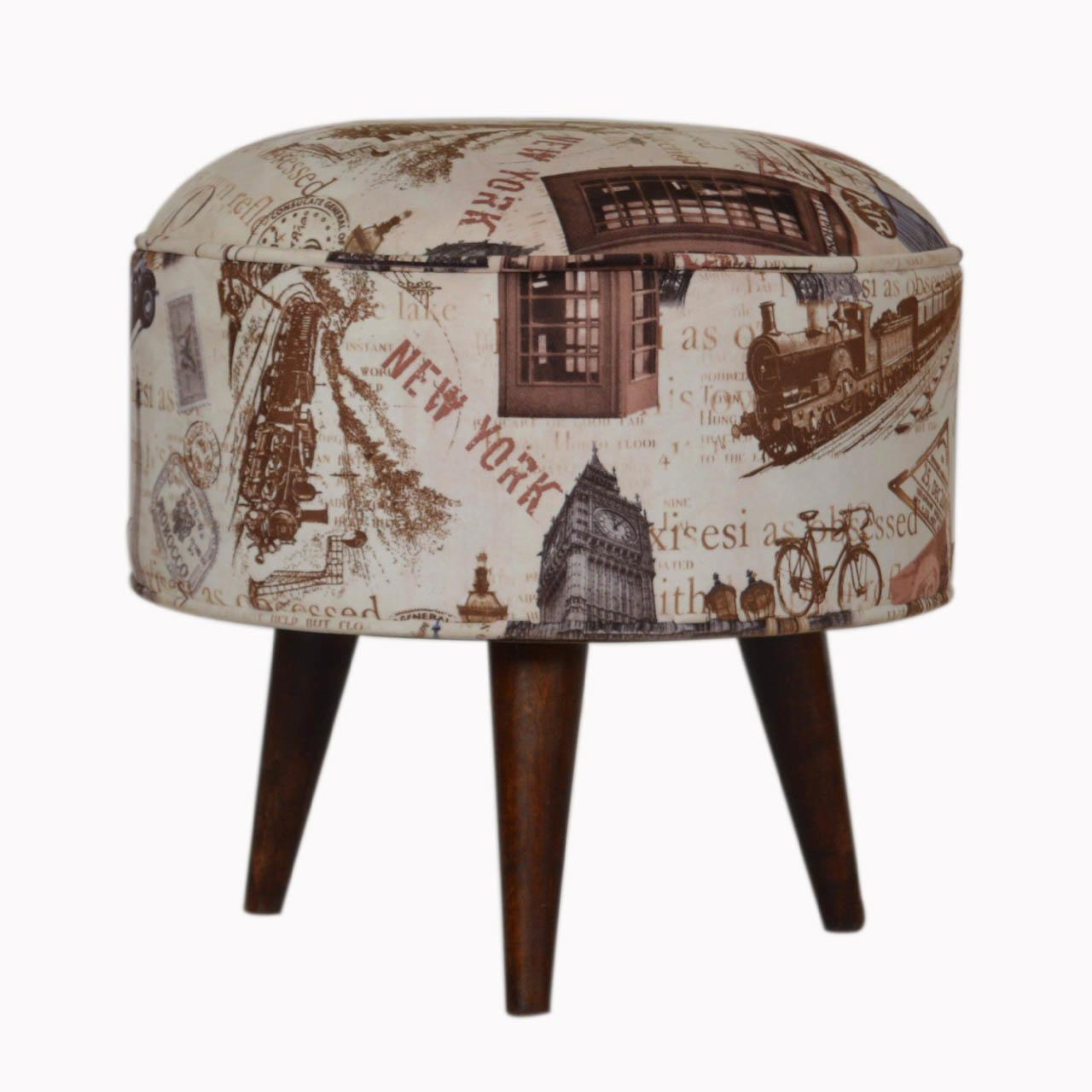 City Print Footstool