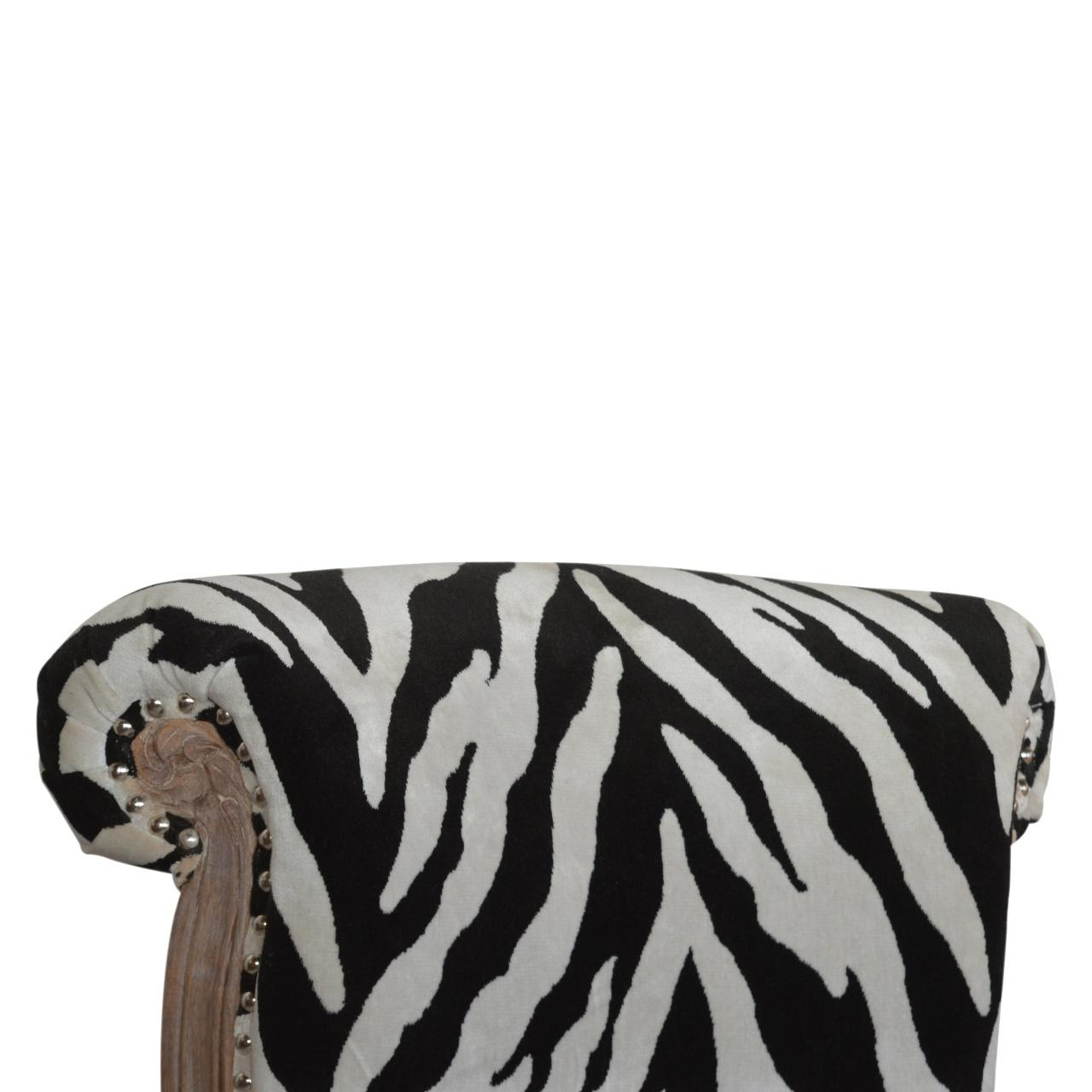 Zebra Printed Studded Chair