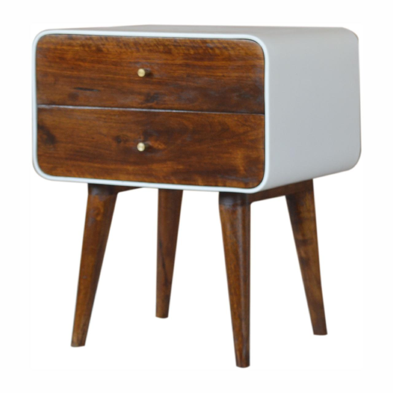 White Outline Curved Chestnut Bedside