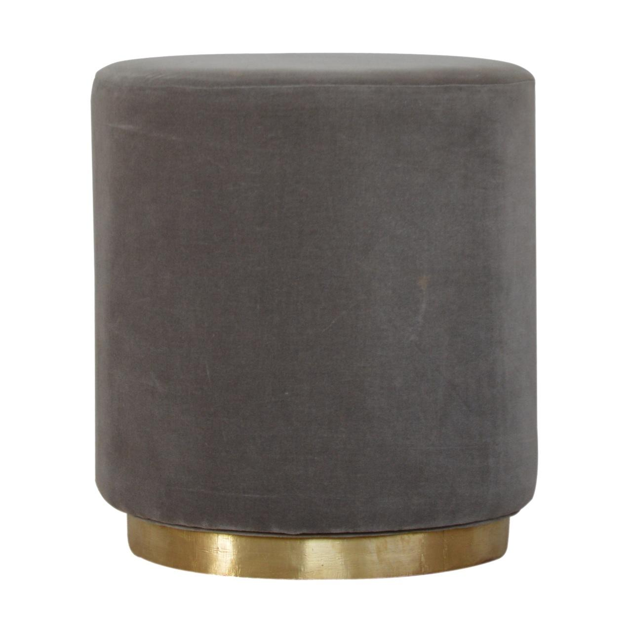 Grey Velvet Footstool with Gold Base