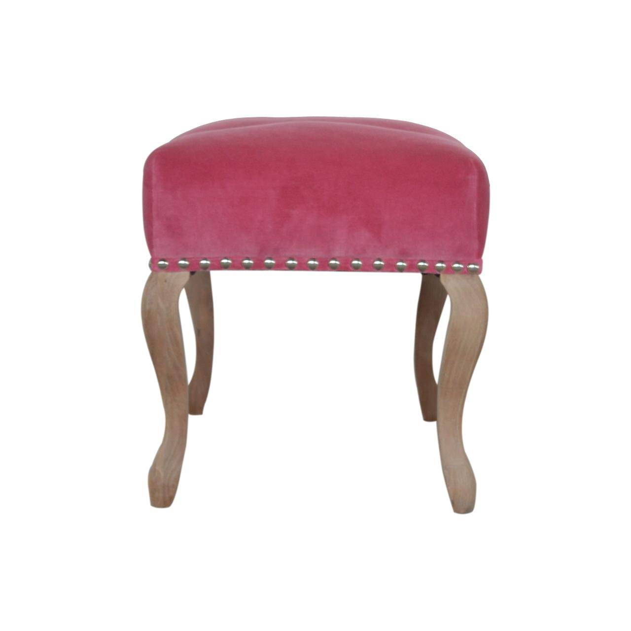 French Style Pink Velvet Bench