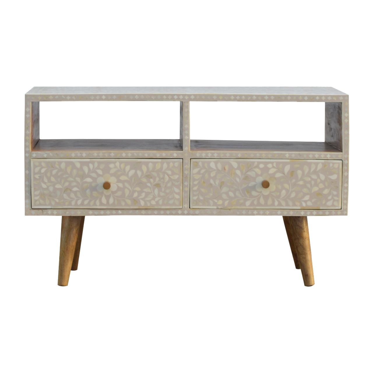 Floral Bone Inlay Media Unit