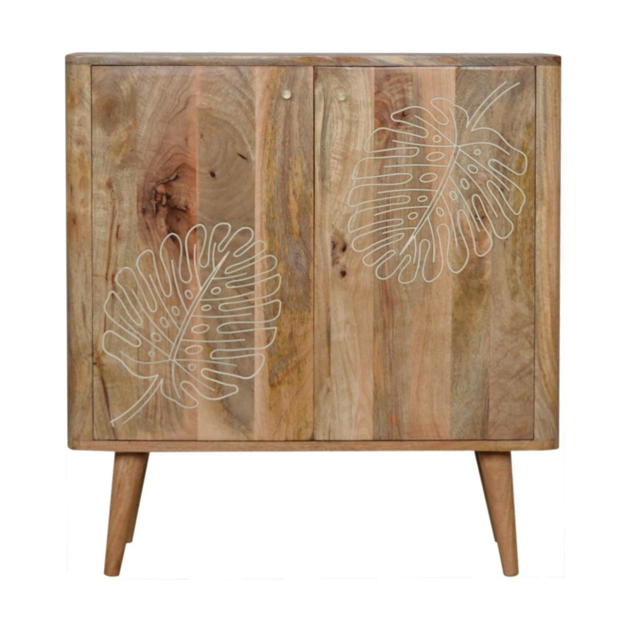 Leaf Embossed Resin Solid Wood Cabinet
