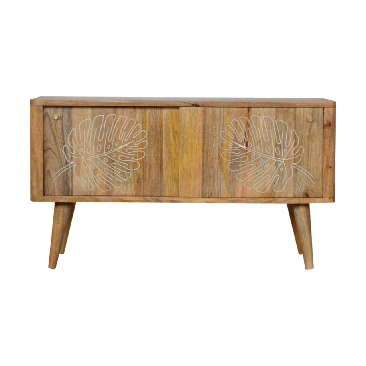 Leaf Embossed Resin Solid Wood Cabinet 2