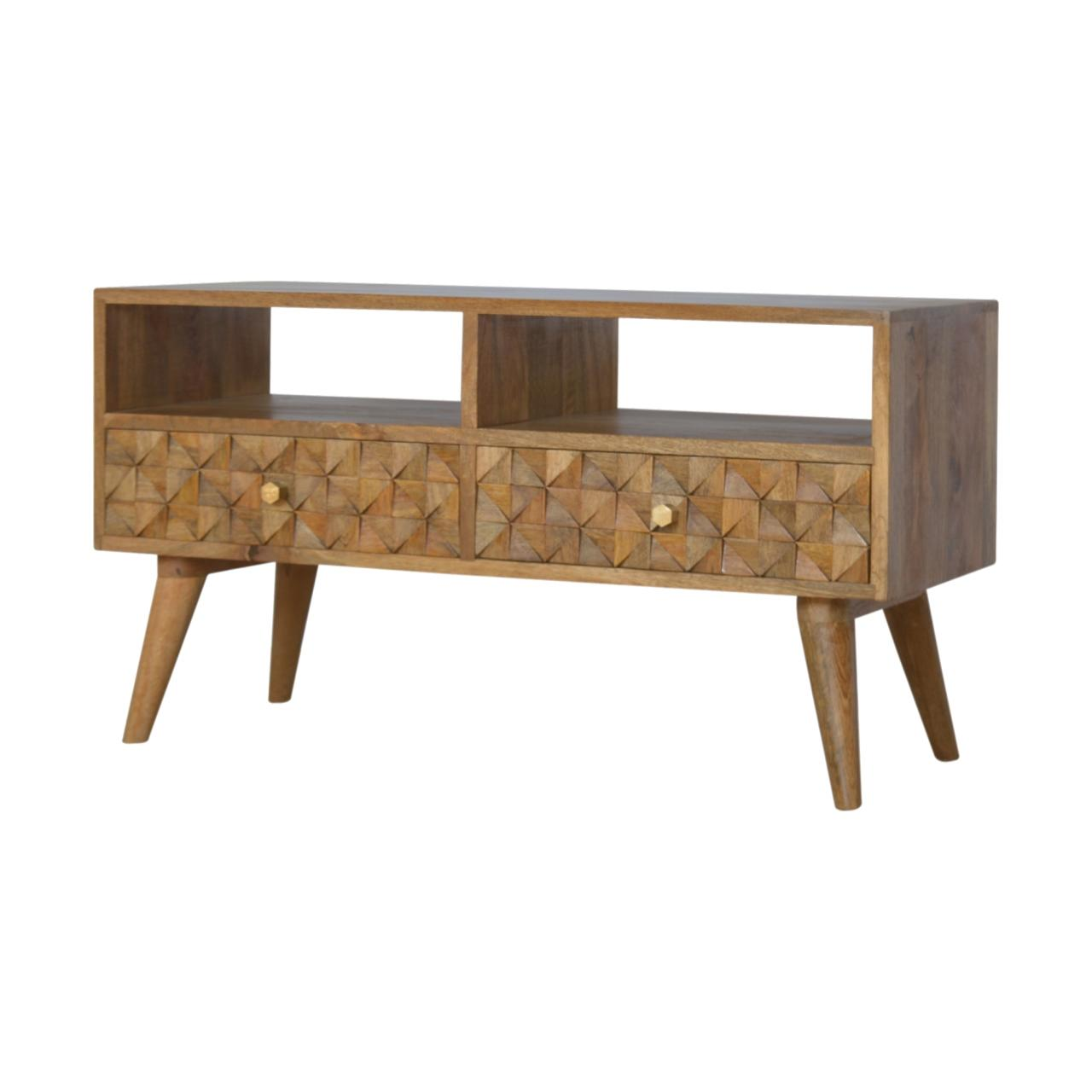 Diamond Carved Tv Unit