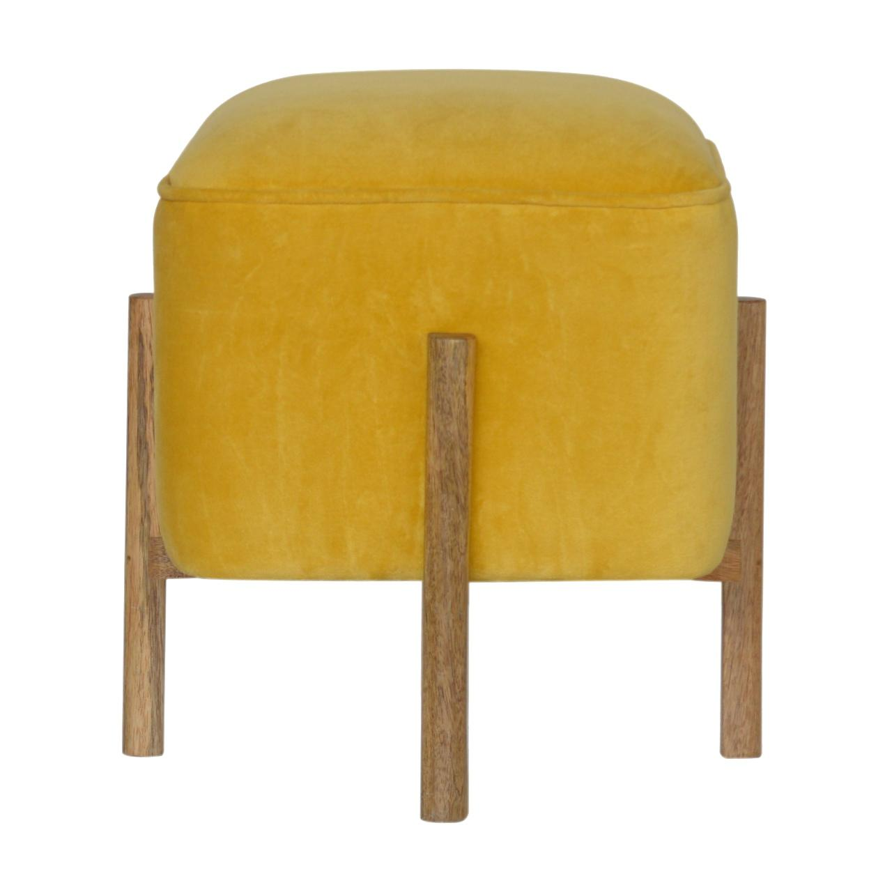 Velvet Footstool with Solid Wood Legs