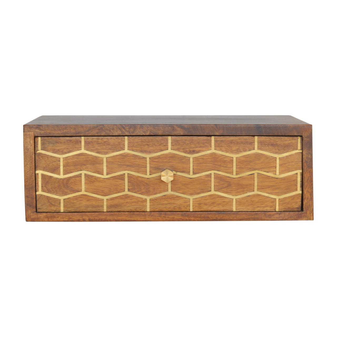 Wall Mounted Gold Art Pattern Chestnut Bedside