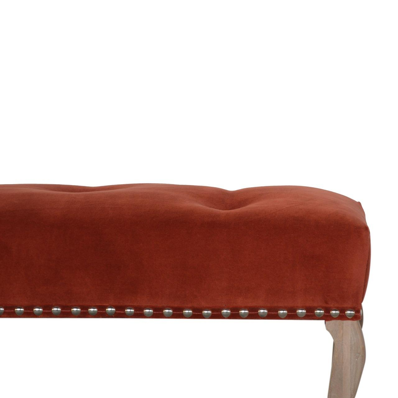 French Style Rust Velvet Bench