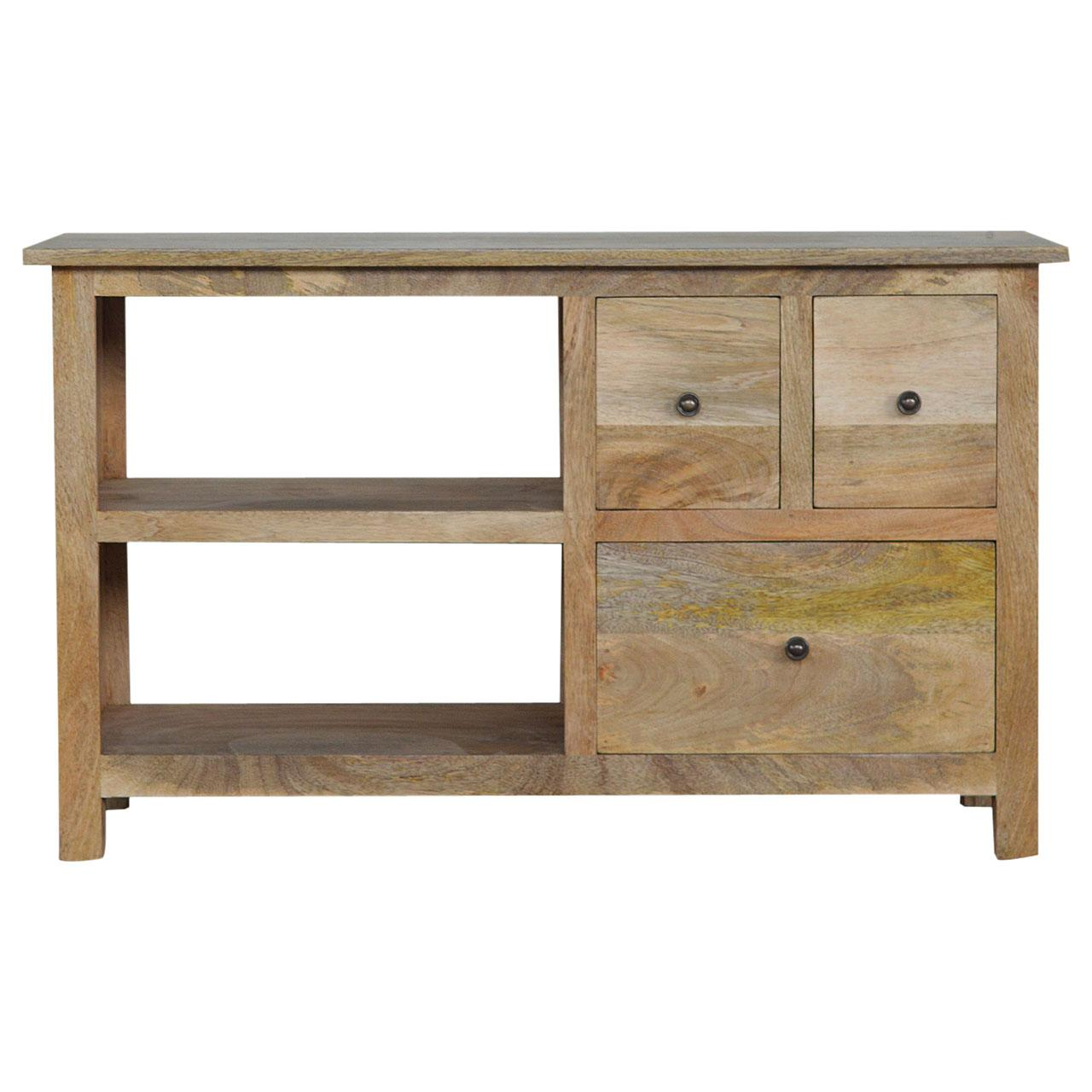 Country Style Media Unit with Three Drawers