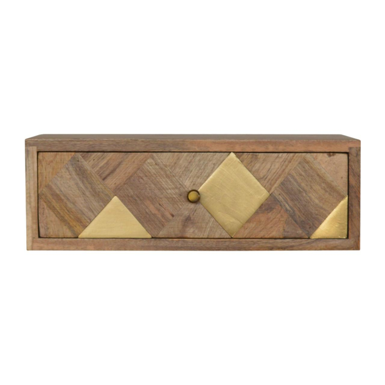 Wall Mounted Brass Inlay Bedside