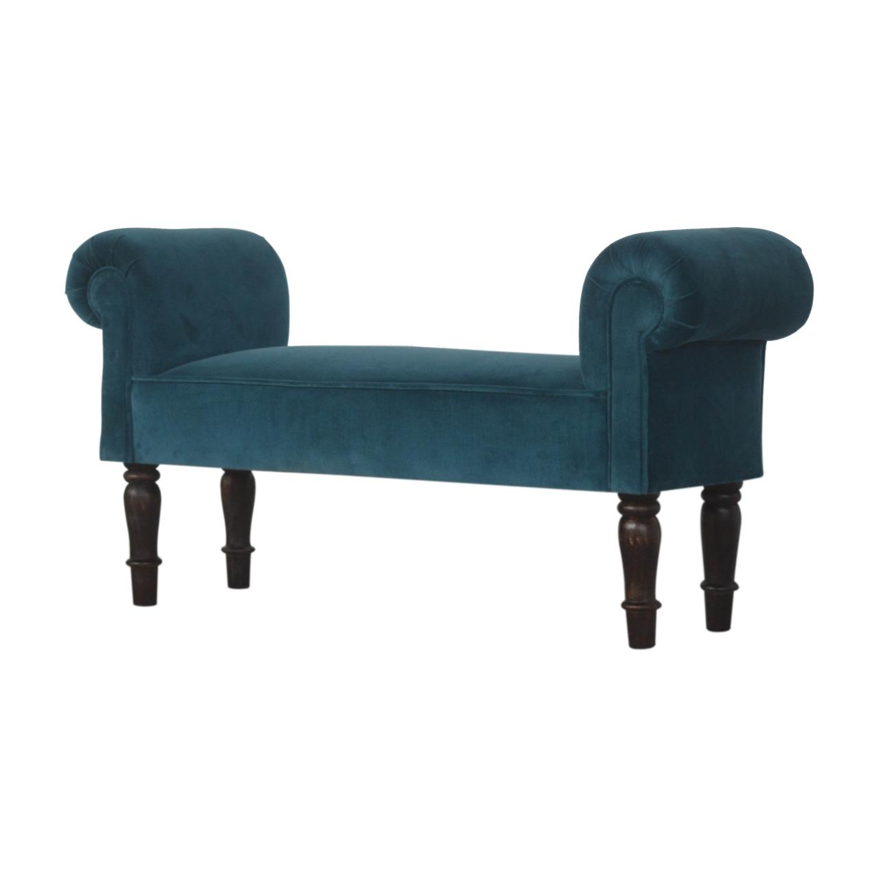 Teal Velvet bench with Turned Feet