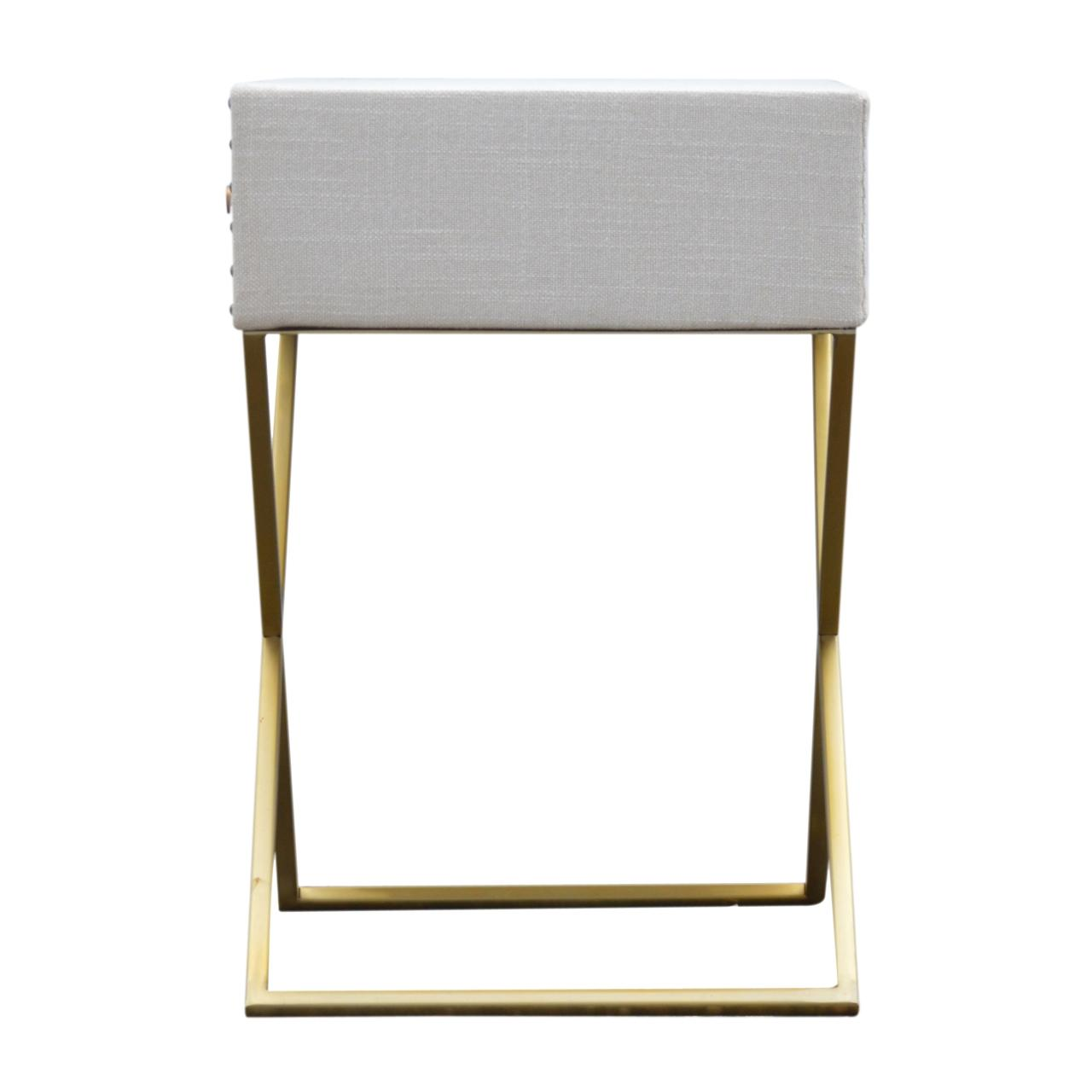 Studded Linen 1 Drawer Bedside with Gold Criss-Cross Legs