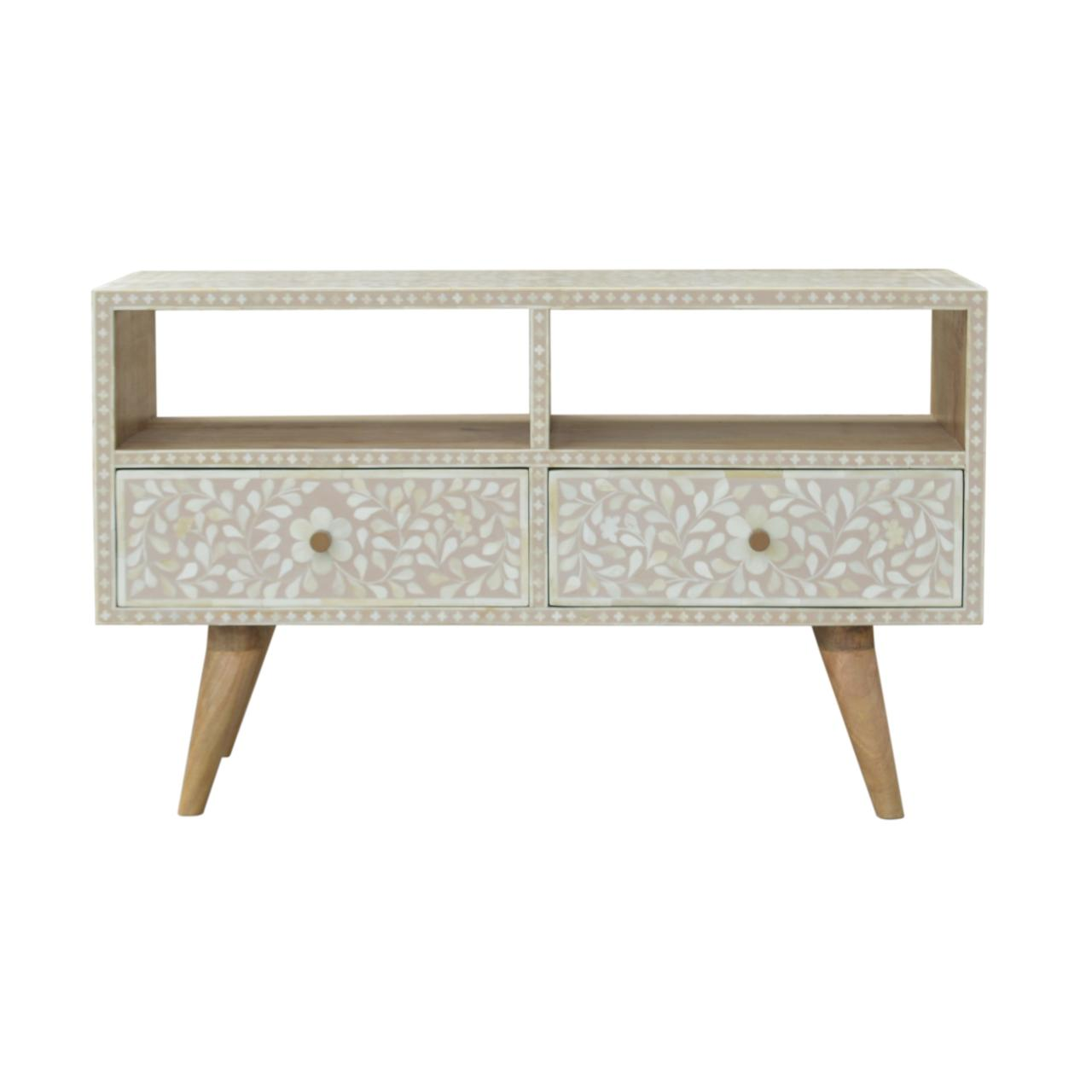 Light Taupe Floral Bone Inlay Media Unit