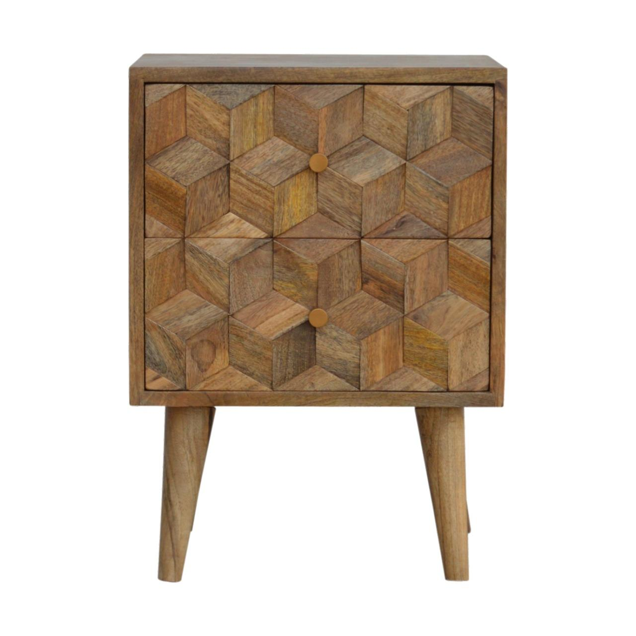 Cube Carved Bedside With 2 Drawers