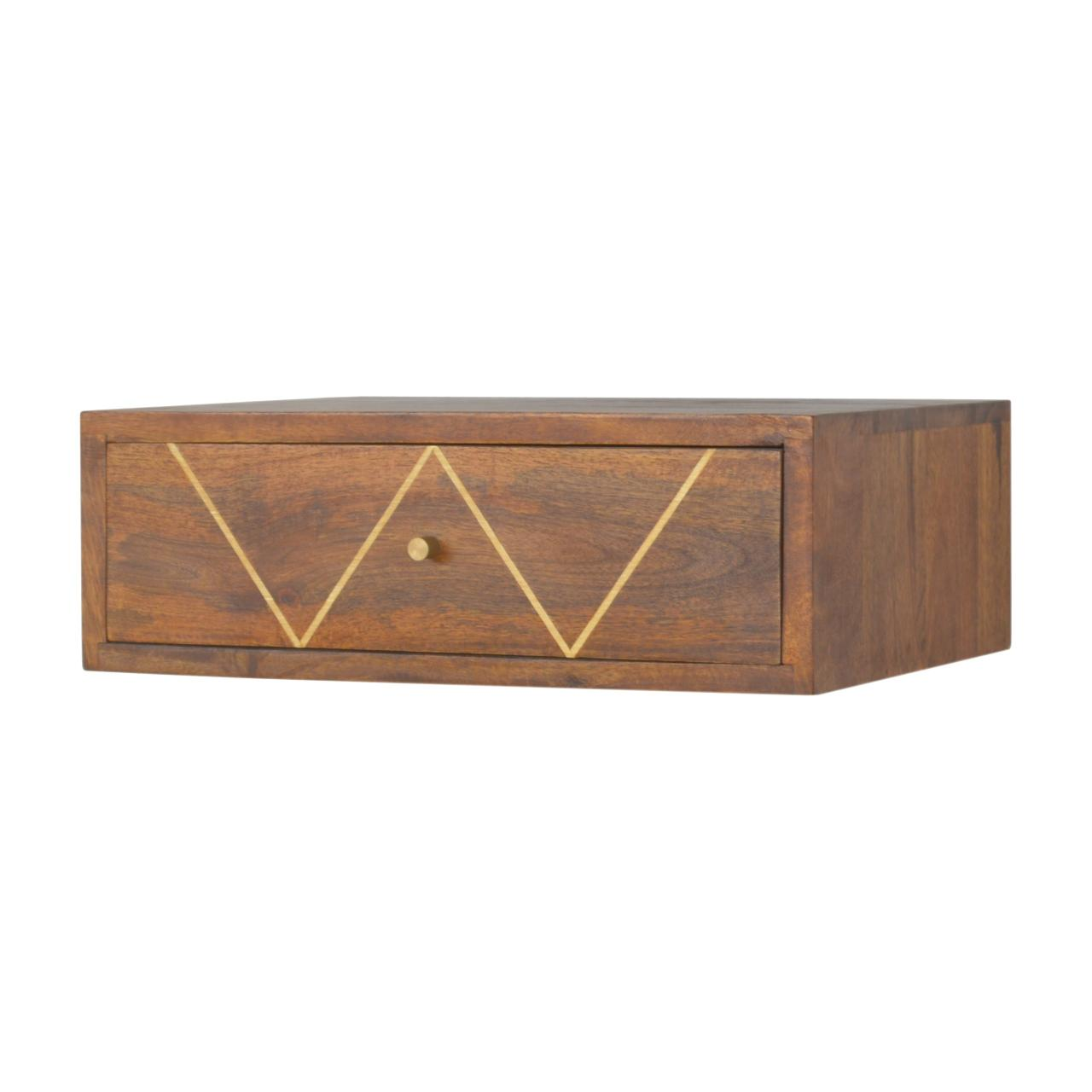 Wall Mounted Chestnut Brass Inlay Bedside