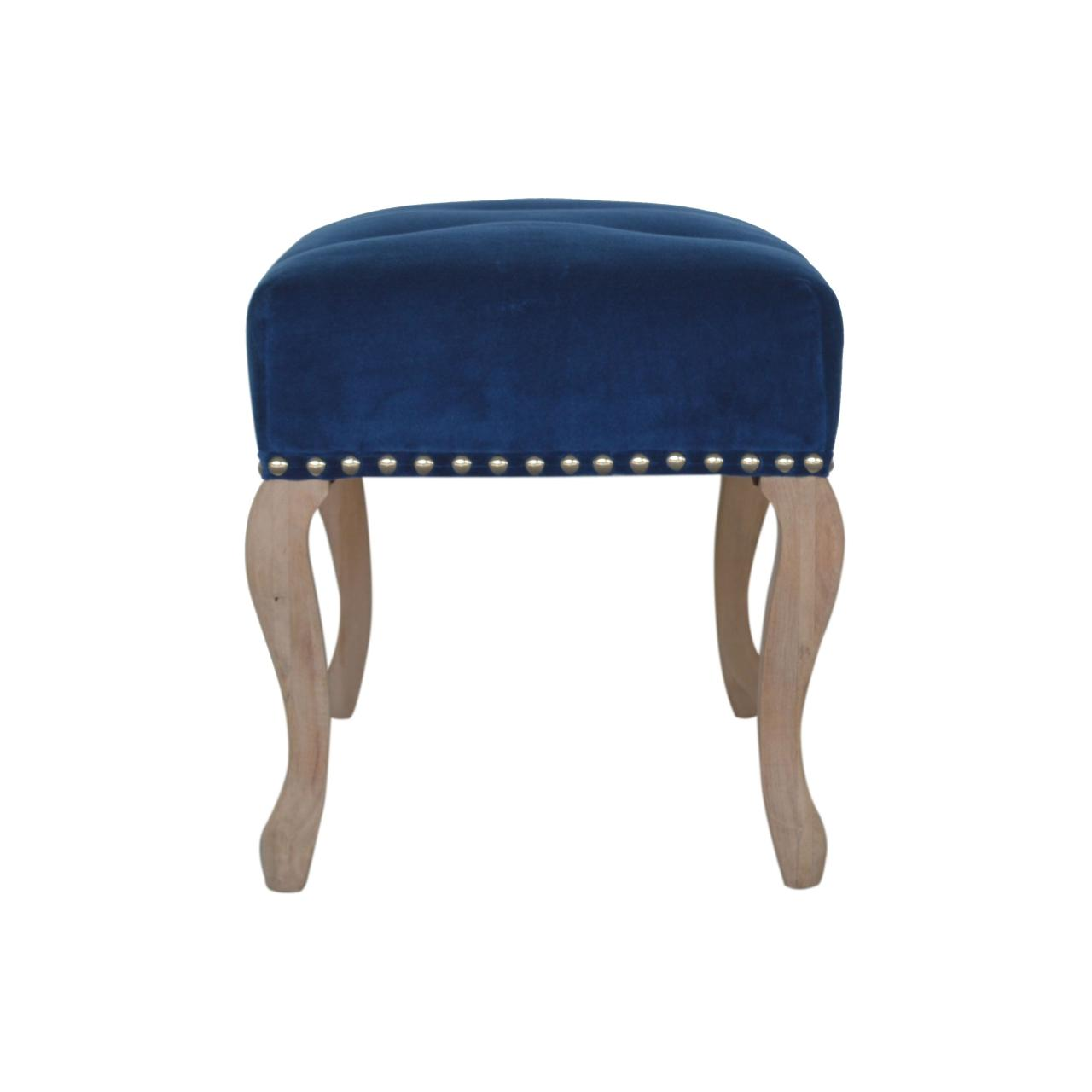French Style Royal Blue Velvet Bench