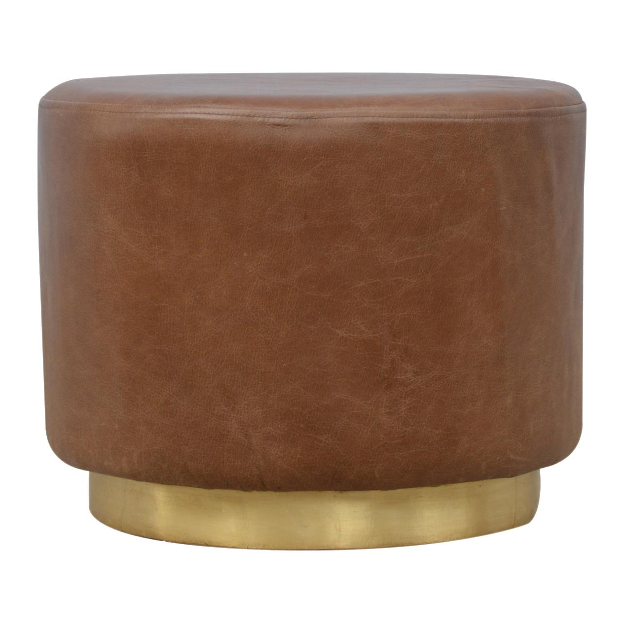 Brown Buffalo Leather Footstool with Gold Base