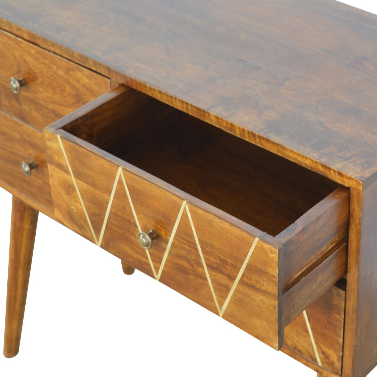 Geometric Brass Inlay Console Table
