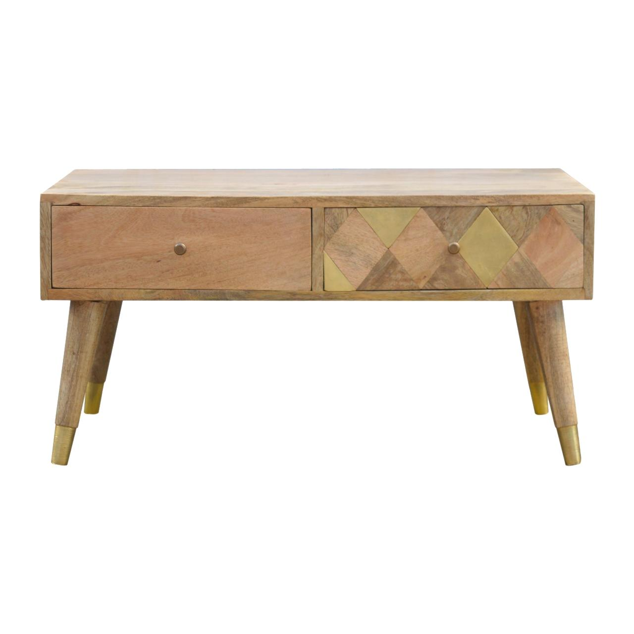 Oak Ish Gold Brass Inlay Coffee Table