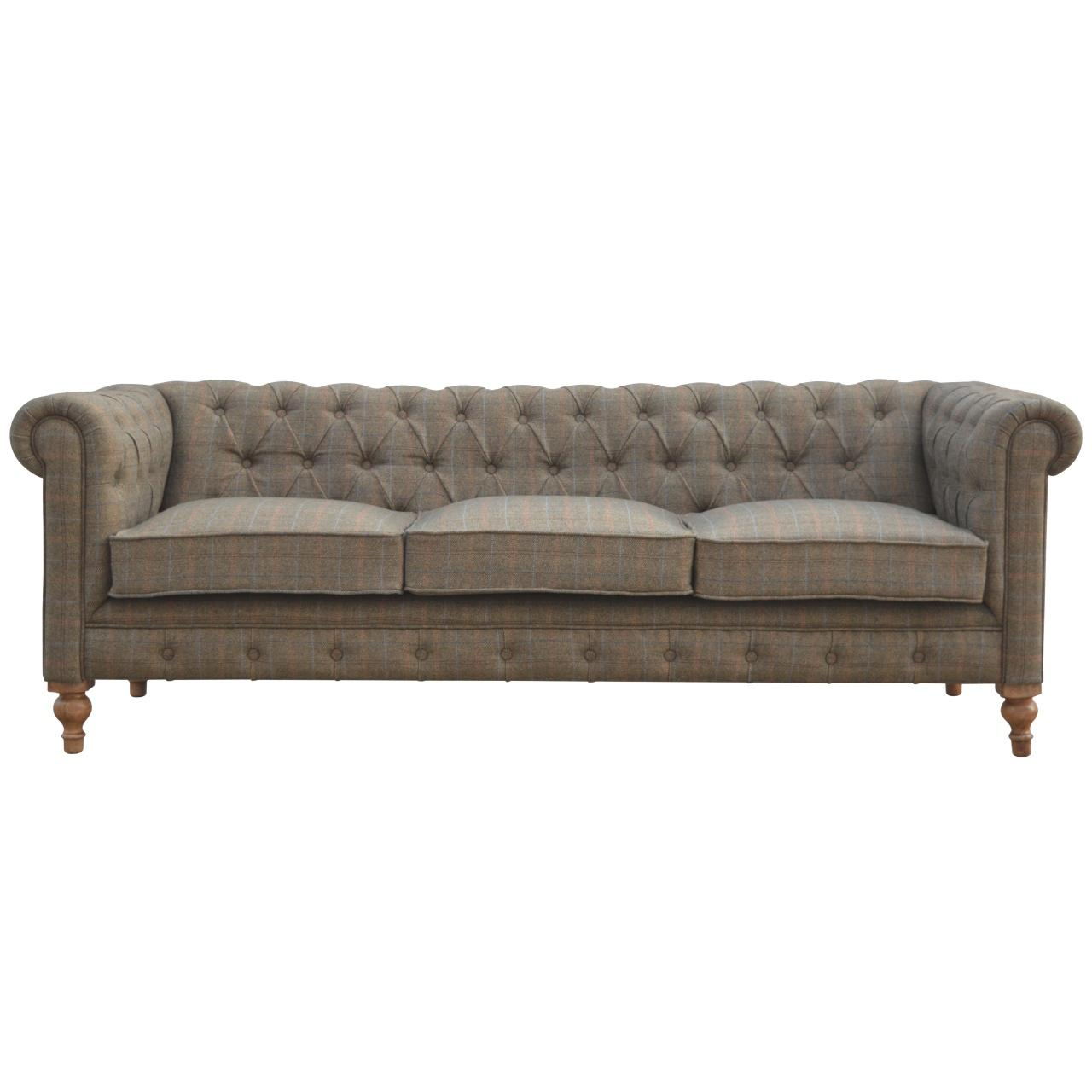 Multi Tweed Three Seater Chesterfield Sofa