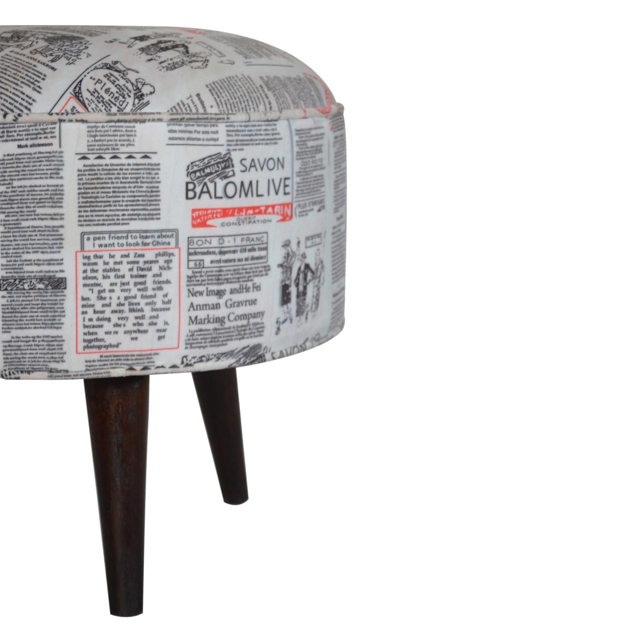 Round footstool with news print velvet