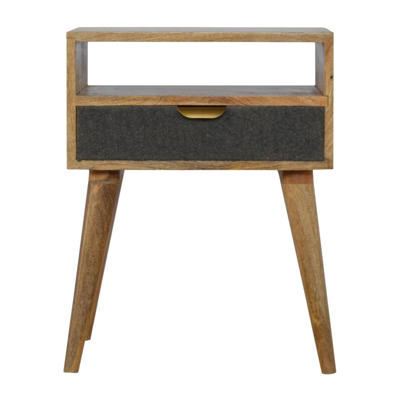 Grey Tweed Bedside With Open Slot