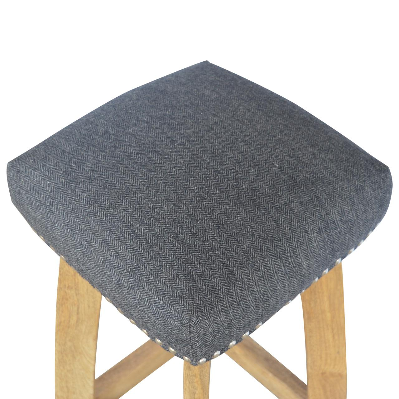 Black Tweed Studded Bar Stool