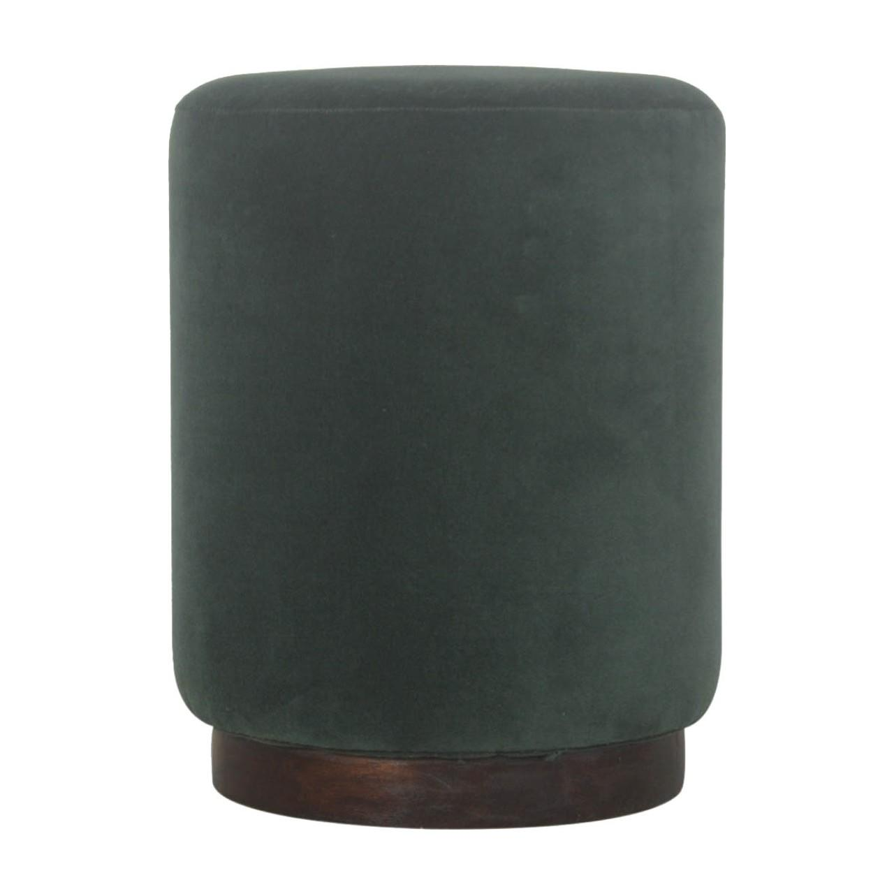 Emerald Velvet Footstool with Wooden Base