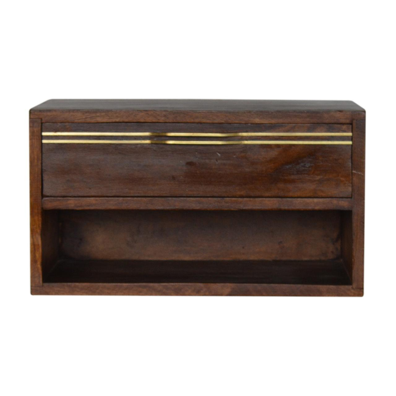 Wall Mounted Chestnut Brass Handle Bedside