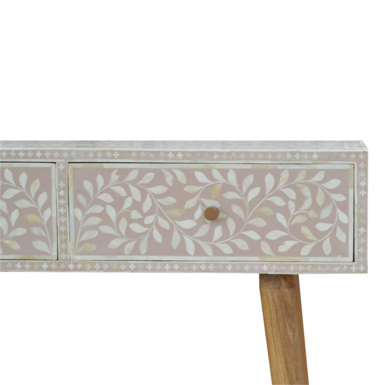 Light Taupe Floral Bone Inlay Console Table