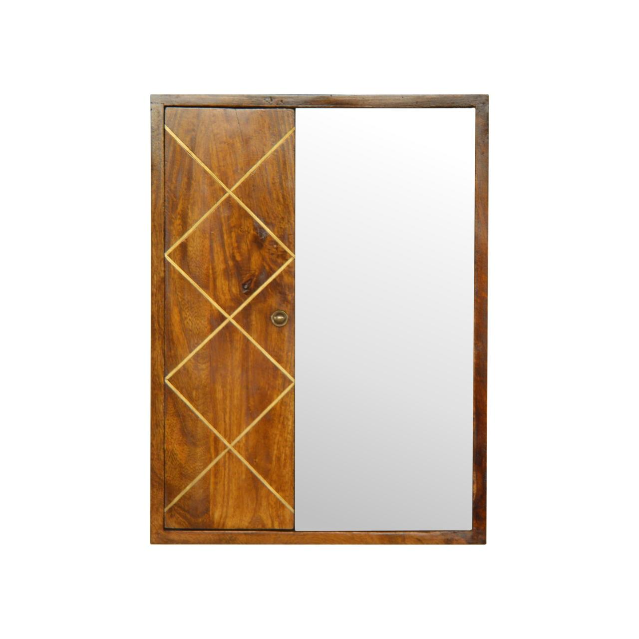 Sliding Brass Inlay Wall Mirror Cabinet