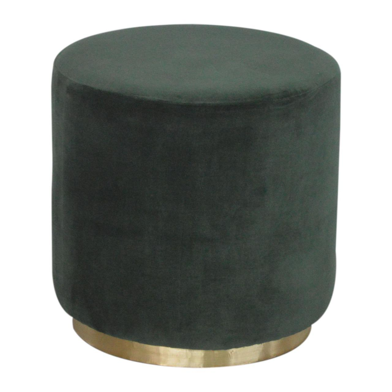 Emerald Velvet Footstool with Gold Base