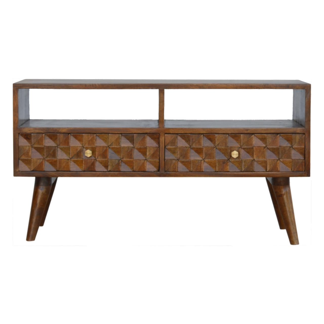 Chestnut Diamond Carved Tv Unit