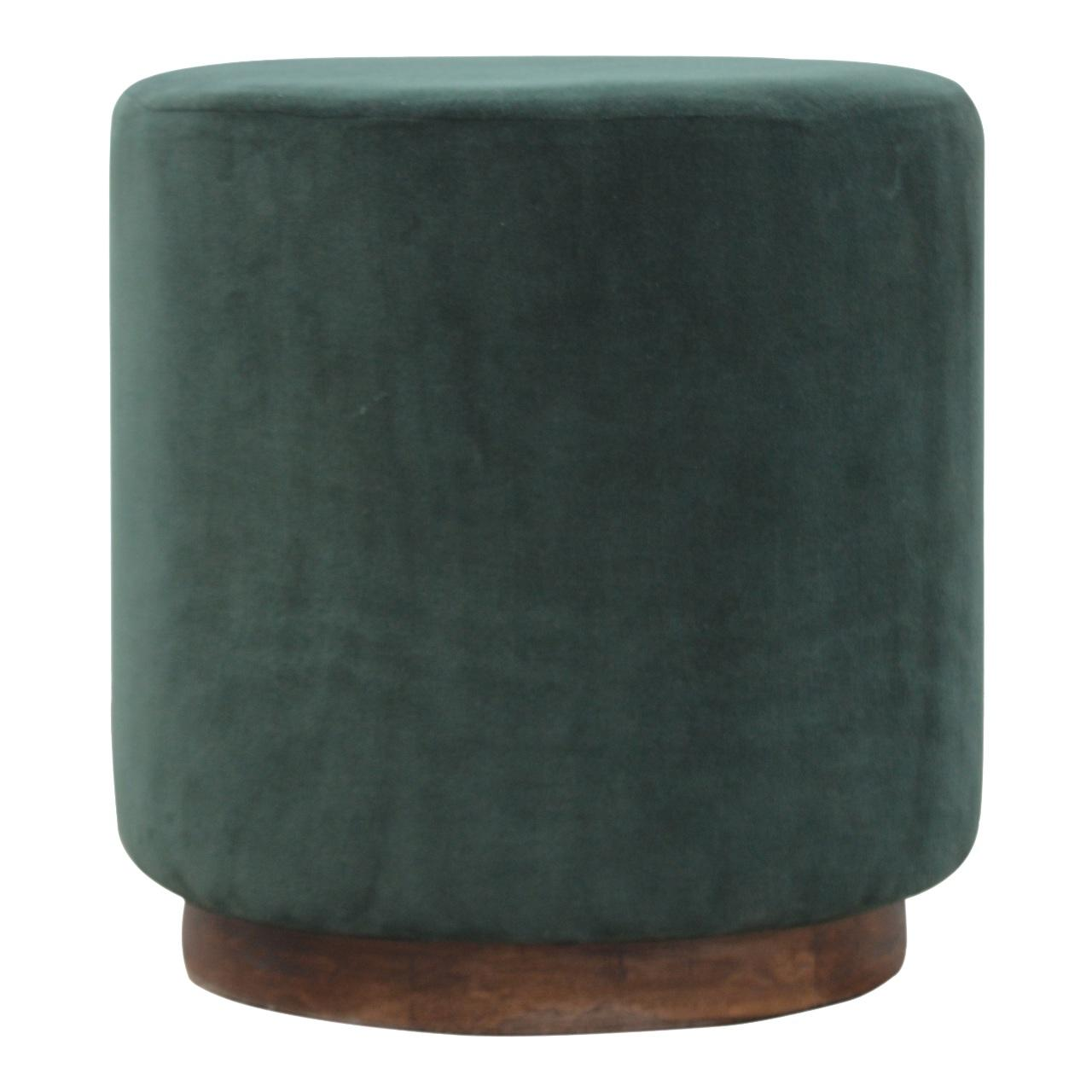 Emerald Green Velvet Footstool With Wooden Base