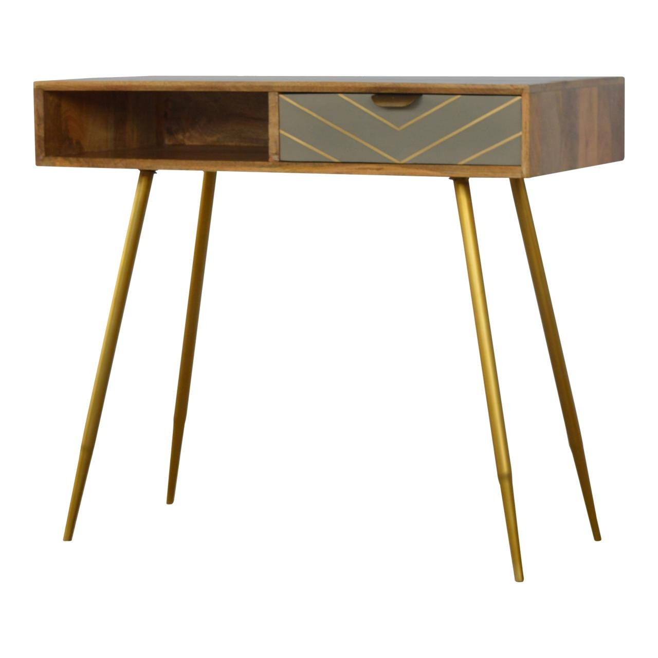 Sleek Cement Brass Inlay Writing Desk