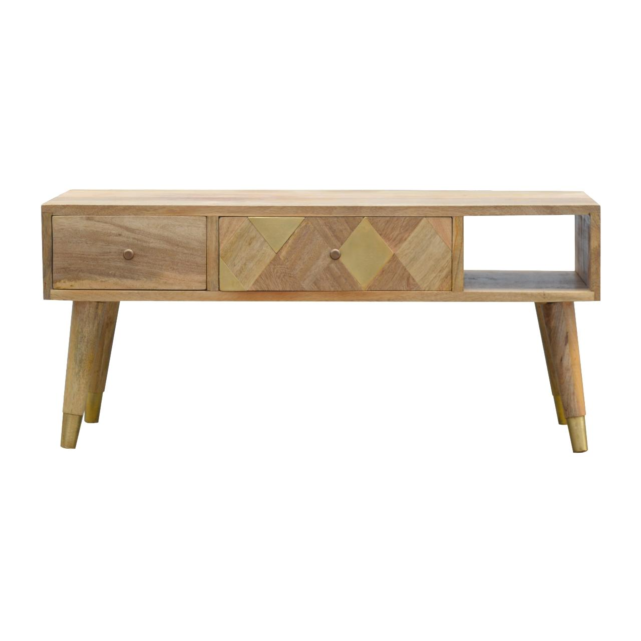 Oak Ish Gold Brass Inlay Media Unit